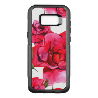 Pink and Red Watercolor Roses on White OtterBox Commuter Samsung Galaxy S8+ Case