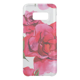 Pink and Red Watercolor Roses on White Uncommon Samsung Galaxy S8 Case