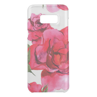 Pink and Red Watercolor Roses on White Uncommon Samsung Galaxy S8 Plus Case
