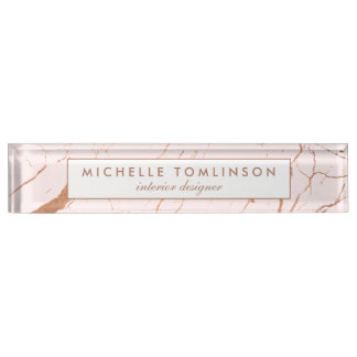 Pink and Rose Gold Marble Designer Nameplate
