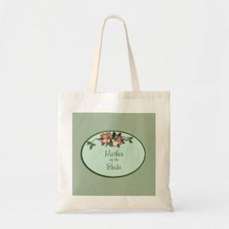 Pink and Sage Floral Wedding Favour Tote Budget Tote Bag