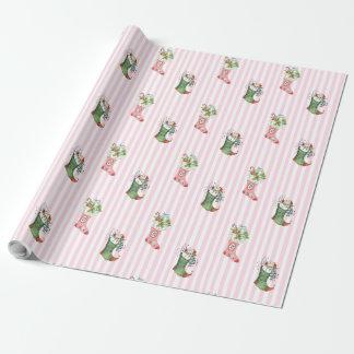 Pink and Sage Green Vintage Christmas Gift Wrap