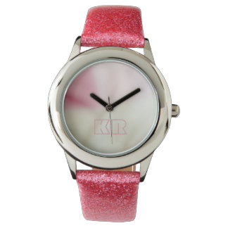 Pink and satin fabric effect with your initials watch