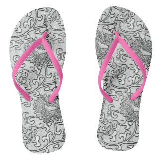 Pink and Shades of Grey Flip Flops