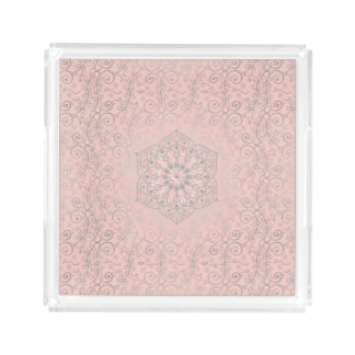 Pink and Silver Bohemian Swirled | Acrylic Tray