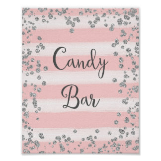 Pink and Silver Candy Bar Wedding Poster Print
