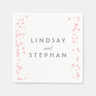 Pink and Silver Confetti Dots Wedding Paper Napkin