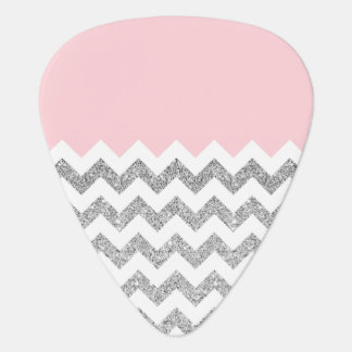 Pink and Silver Faux Glitter Chevron Guitar Pick