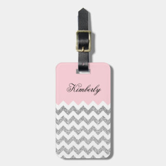 Pink and Silver Faux Glitter Chevron Luggage Tag