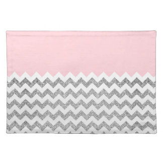 Pink and Silver Faux Glitter Chevron Placemat
