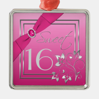 Pink and Silver Floral Sweet Sixteen Ornament