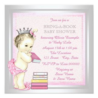 Pink and Silver Girls Bring a Book Baby Shower 13 Cm X 13 Cm Square Invitation Card