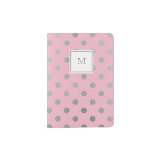 Pink and Silver Polka Dot Passport Holder