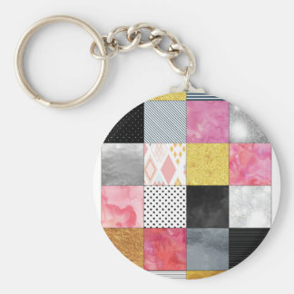 Pink and Silver Quilt Key Ring