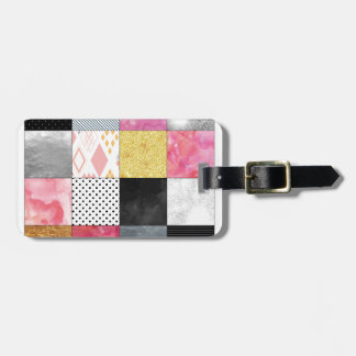 Pink and Silver Quilt Luggage Tag