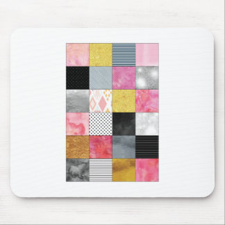 Pink and Silver Quilt Mouse Pad