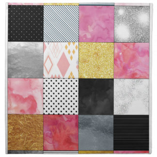 Pink and Silver Quilt Napkin