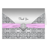 Pink and Silver Thank You Card