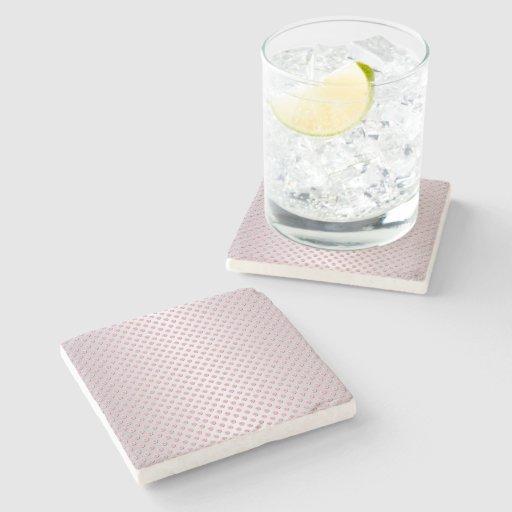 Pink and Silvery White Polka Dot Pattern Stone Beverage Coaster