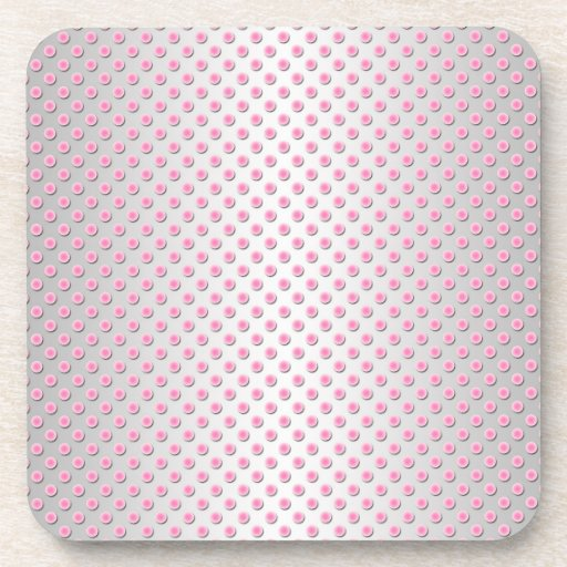 Pink and Silvery White Polka Dots Pattern Coasters