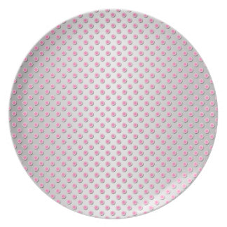 Pink and Silvery White Polka Dots Pattern Plates