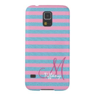 Pink and sky blue aqua glitter stripes monogram galaxy s5 covers
