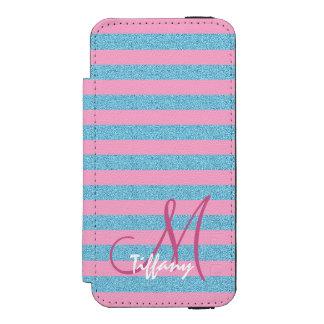 Pink and sky blue aqua glitter stripes monogram incipio watson™ iPhone 5 wallet case