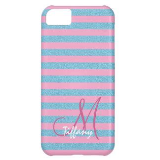 Pink and sky blue aqua glitter stripes monogram iPhone 5C case