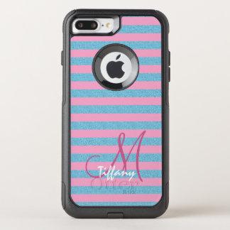 Pink and sky blue aqua glitter stripes monogram OtterBox commuter iPhone 8 plus/7 plus case