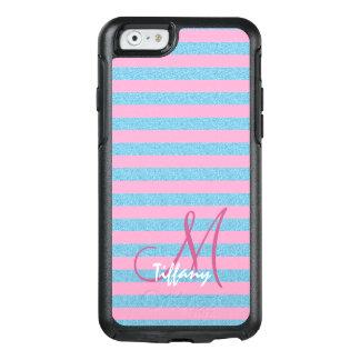 Pink and sky blue aqua glitter stripes monogram OtterBox iPhone 6/6s case
