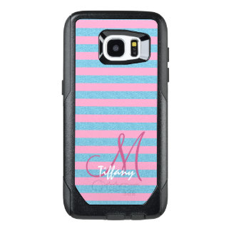 Pink and sky blue aqua glitter stripes monogram OtterBox samsung galaxy s7 edge case