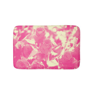 Pink and Soft Yellow Roses Bath Mat