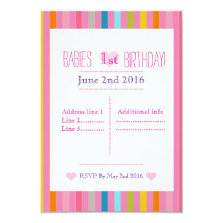 Pink and stripped Birthday invitations
