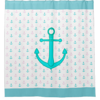 Pink and Teal Anchors Nautical Shower Curtain