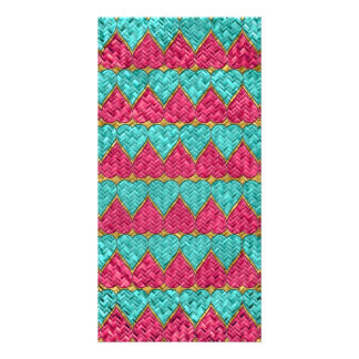 Pink And Teal Basket Weave Hearts Picture Card