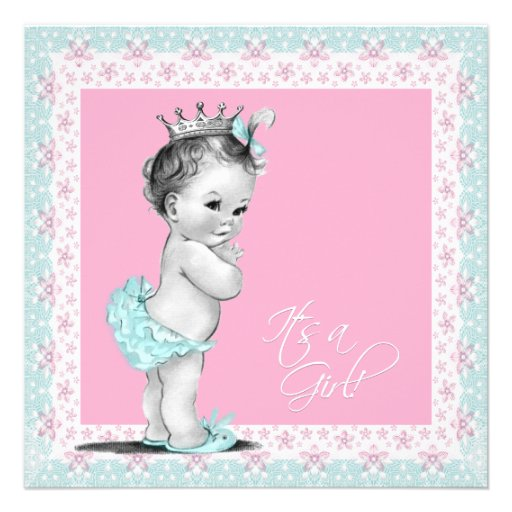 Pink and Teal Blue Baby Girl Shower Personalized Invitation