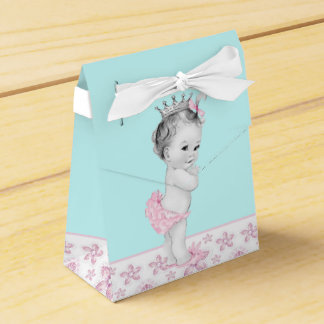 Pink and Teal Blue Baby Shower Favor Boxes
