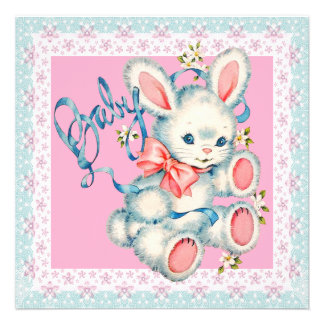 Pink and Teal Blue Bunny Rabbit Baby Shower Announcement