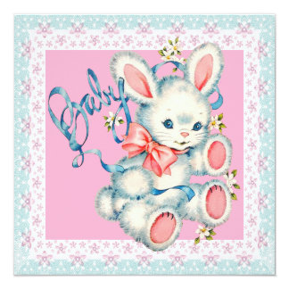 "Pink and Teal Blue Bunny Rabbit Baby Shower 5.25"" Square Invitation Card"