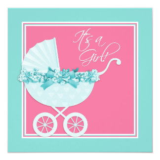 "Pink and Teal Blue Pram Baby Shower 5.25"" Square Invitation Card"