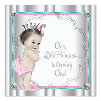 Pink and Teal Blue Princess 1st Birthday Party Card