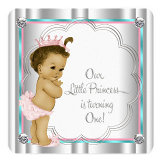 """Pink and Teal Blue Princess 1st Birthday Party 5.25"""" Square Invitation Card"""