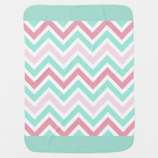 Pink and Teal Chevron Baby Blanket