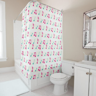 Pink and Teal Colorful Musical Notes Shower Curtain