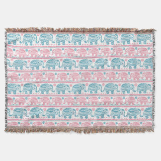 Pink And Teal Ethnic Elephant Pattern Throw Blanket