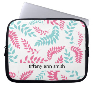 Pink and Teal Fern Foliage Pattern Computer Sleeves