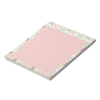 Pink and teal floral notepad
