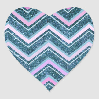 Pink and teal glam chevron heart sticker