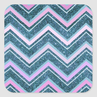 Pink and teal glam chevron square sticker