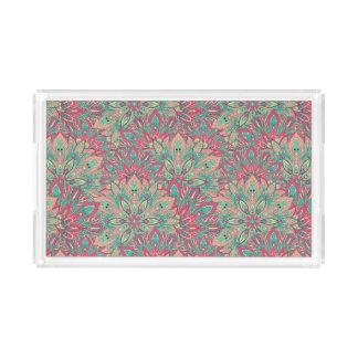 Pink and Teal mandala pattern. Acrylic Tray